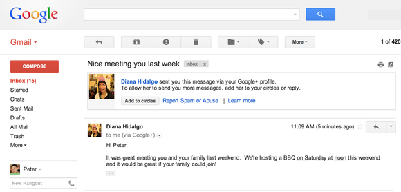 A new Gmail feature lets strangers who use Google+ send you email messages