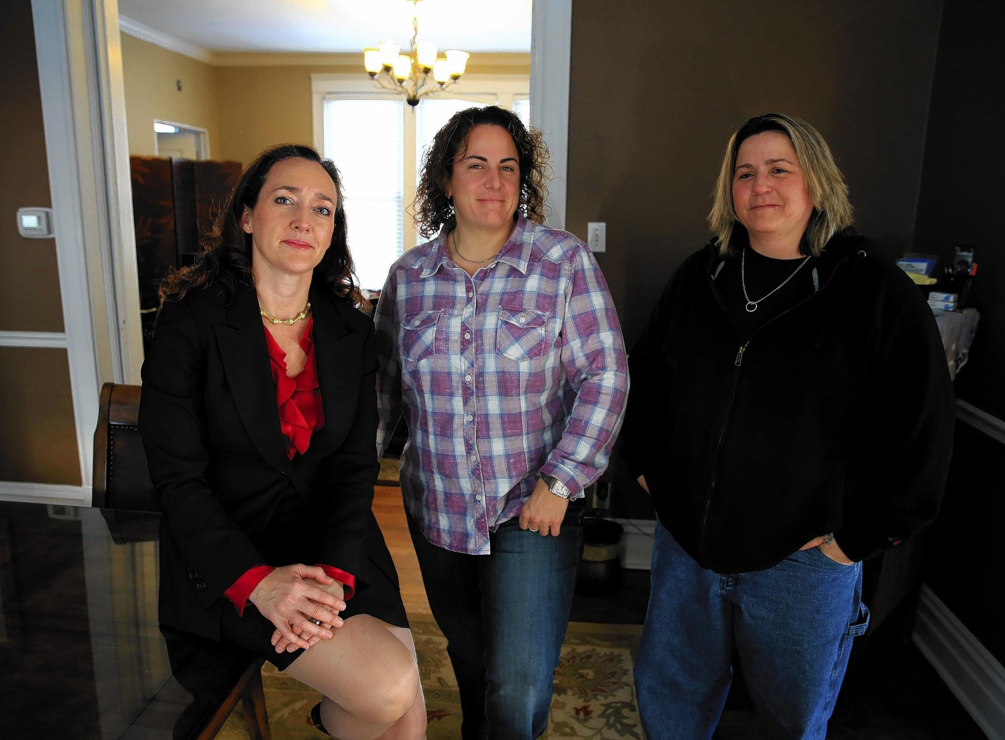 Attorney Dana Kurtz, from left, with two of her clients Debra Sciortino and Kelly Fuery. Sciortino, Fuery and Nicole Tomaskovic are suing Chicago over an alleged road rage incident involving a police officer.
