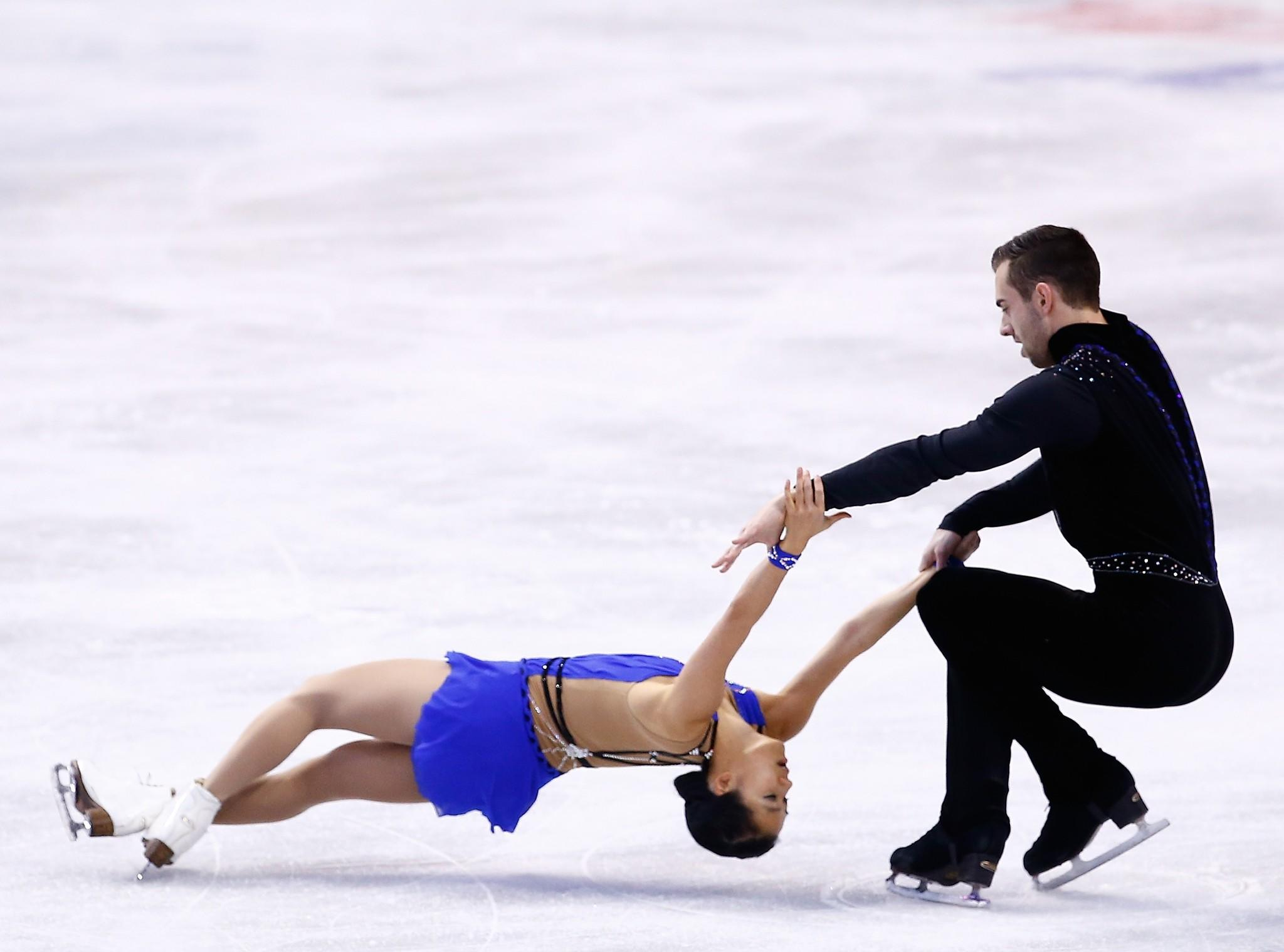 DeeDee Leng and Timothy LeDuc finishing third in the short program at the U.S. Championships Thursday at TD Garden.