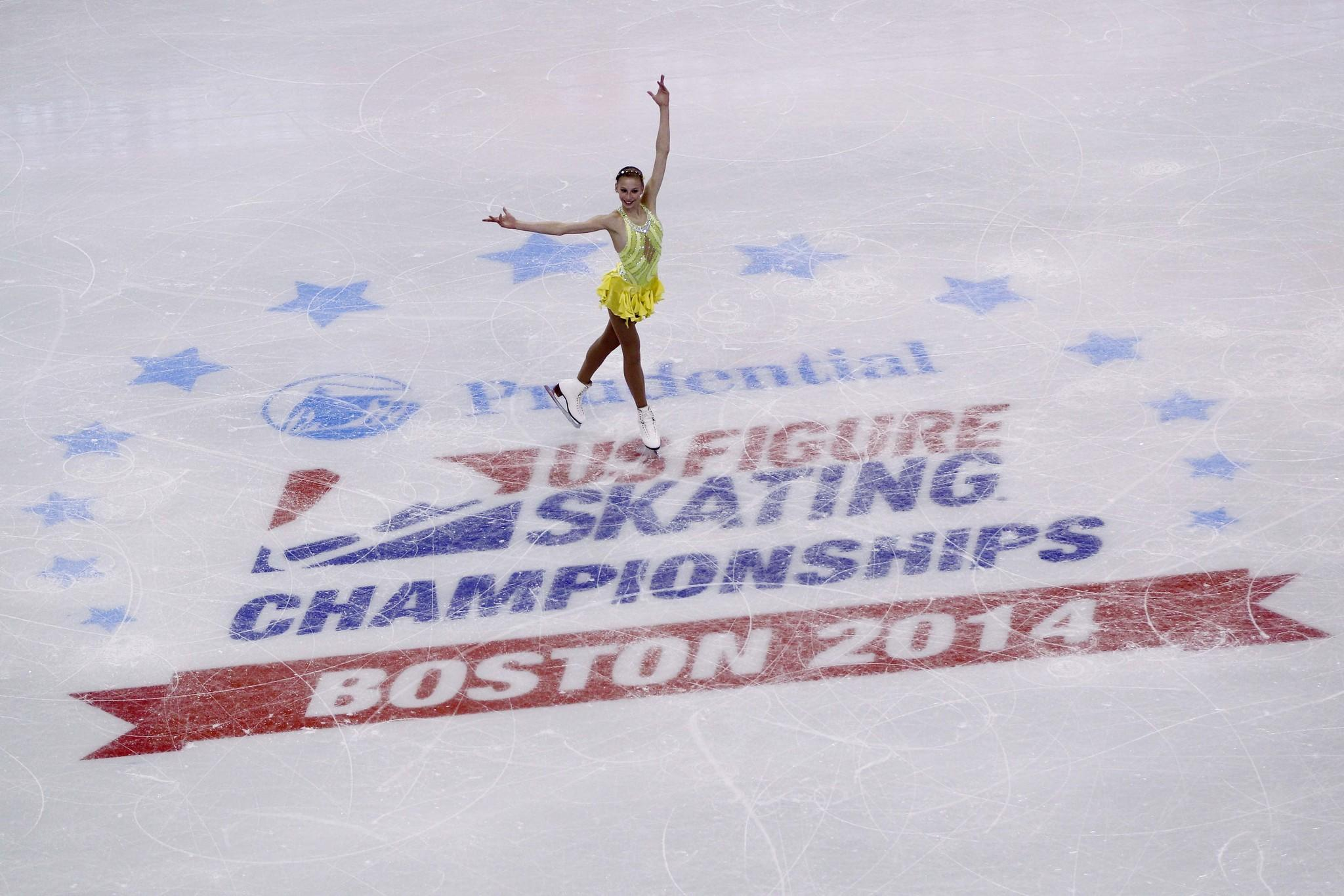 Polina Edmunds performs during the ladies short program in the U.S. Figure Skating Championships at TD Garden.