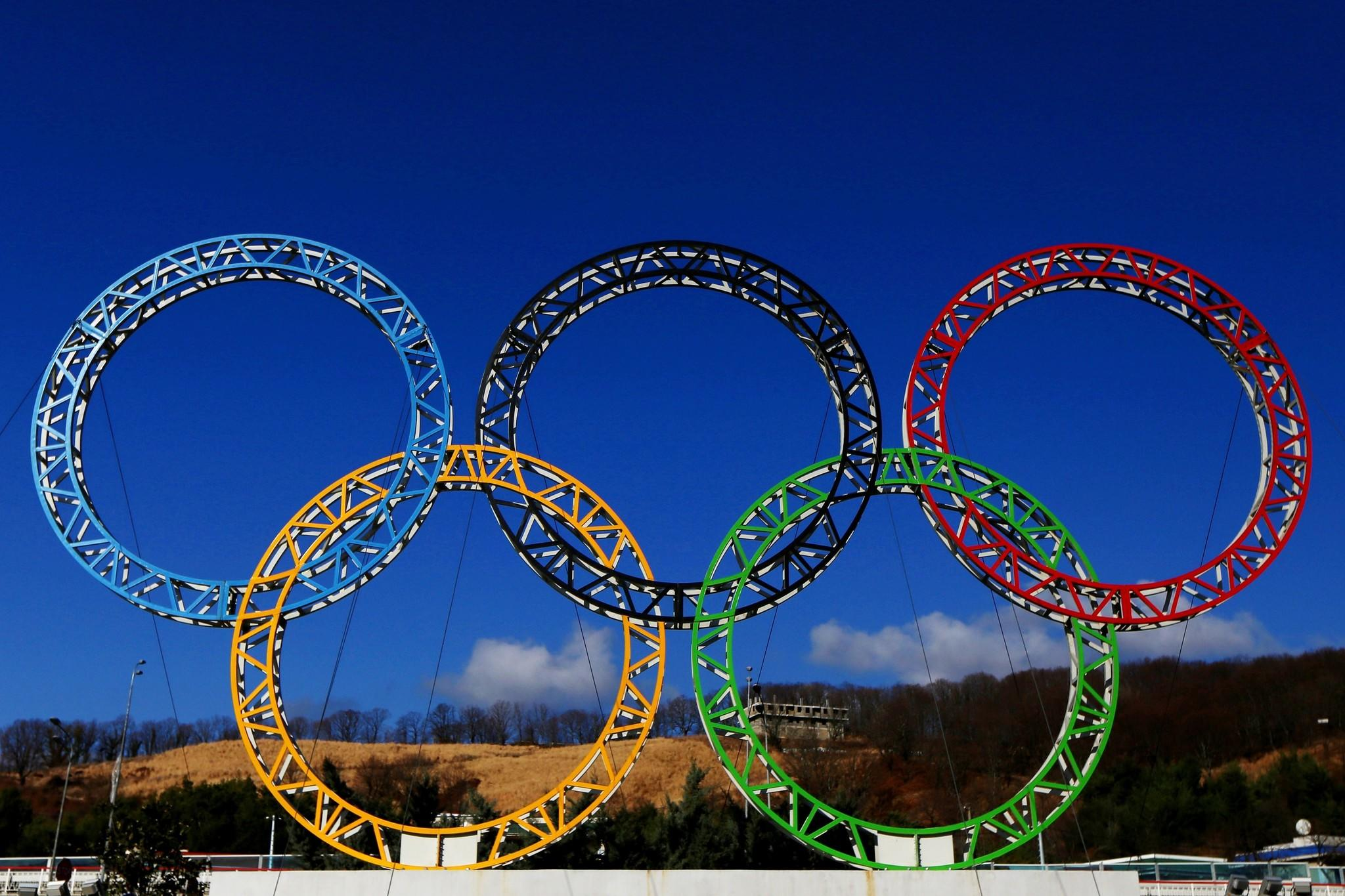 The Olympic rings stand outside of Sochi International Airport.