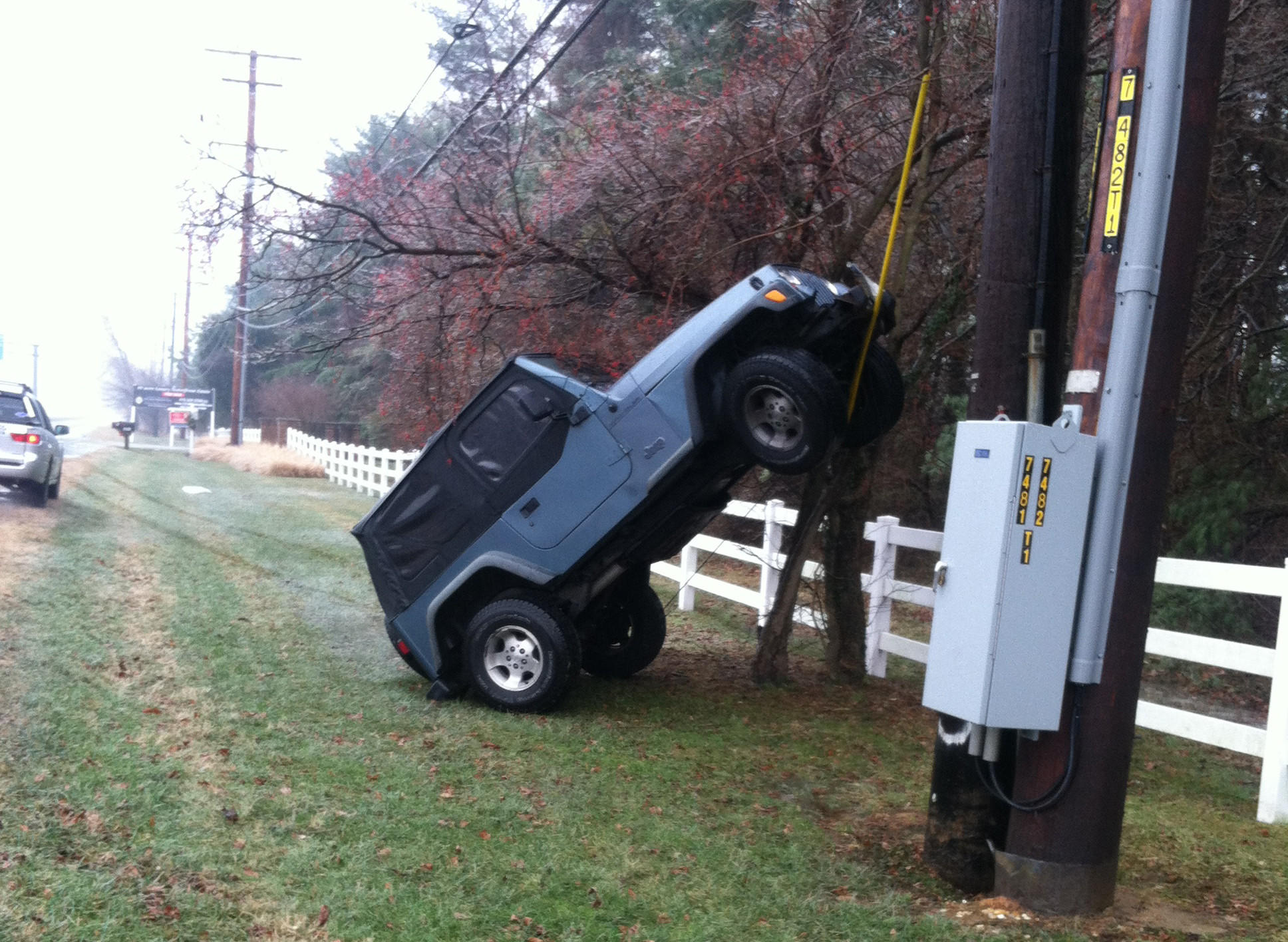 An accident involving a Jeep and a utility pole in Annapolis was among more than 70 incidents reported in Anne Arundel County on Friday related to weather.
