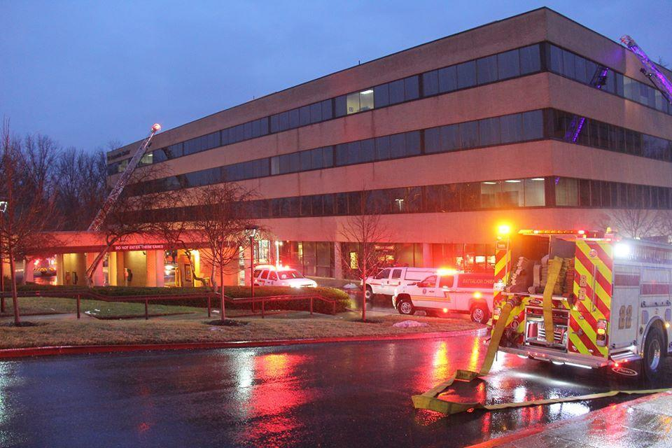 Firefighters from Howard County responded to a duct fire at an office building on Little Patuxent Parkway early Friday morning.