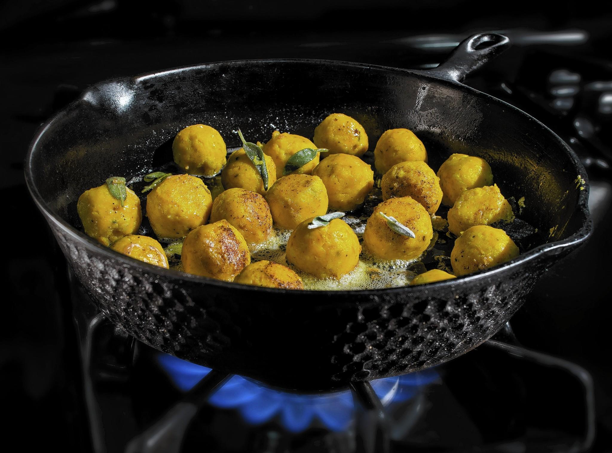 Finished dish photo of Squash Ricotta Gnudi, an Italian dumpling ...