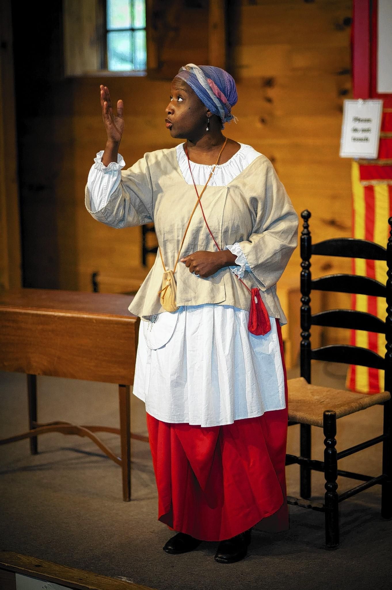 "Tammy Denease portrays Elizabeth ""Mum Bett"" Freeman as part of Old Sturbridge Village's Martin Luther King Day celebration. Freeman won her freedom in a landmark cast that became the precedent to end slavery nationwide."