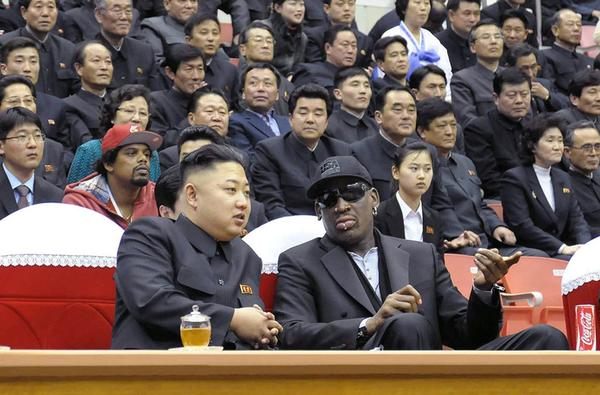 North Korean leader Kim Yong Un and ex-NBA star Dennis Rodman