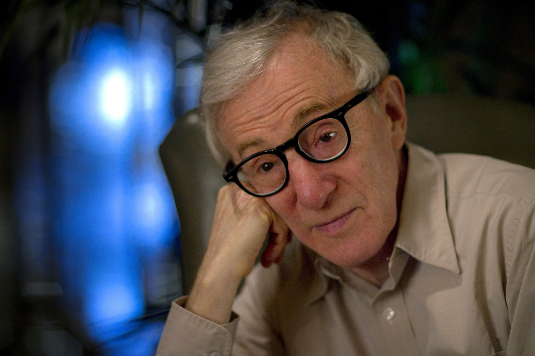 "Woody Allen is interviewed about his new film ""Blue Jasmine"" in Beverly Hills."