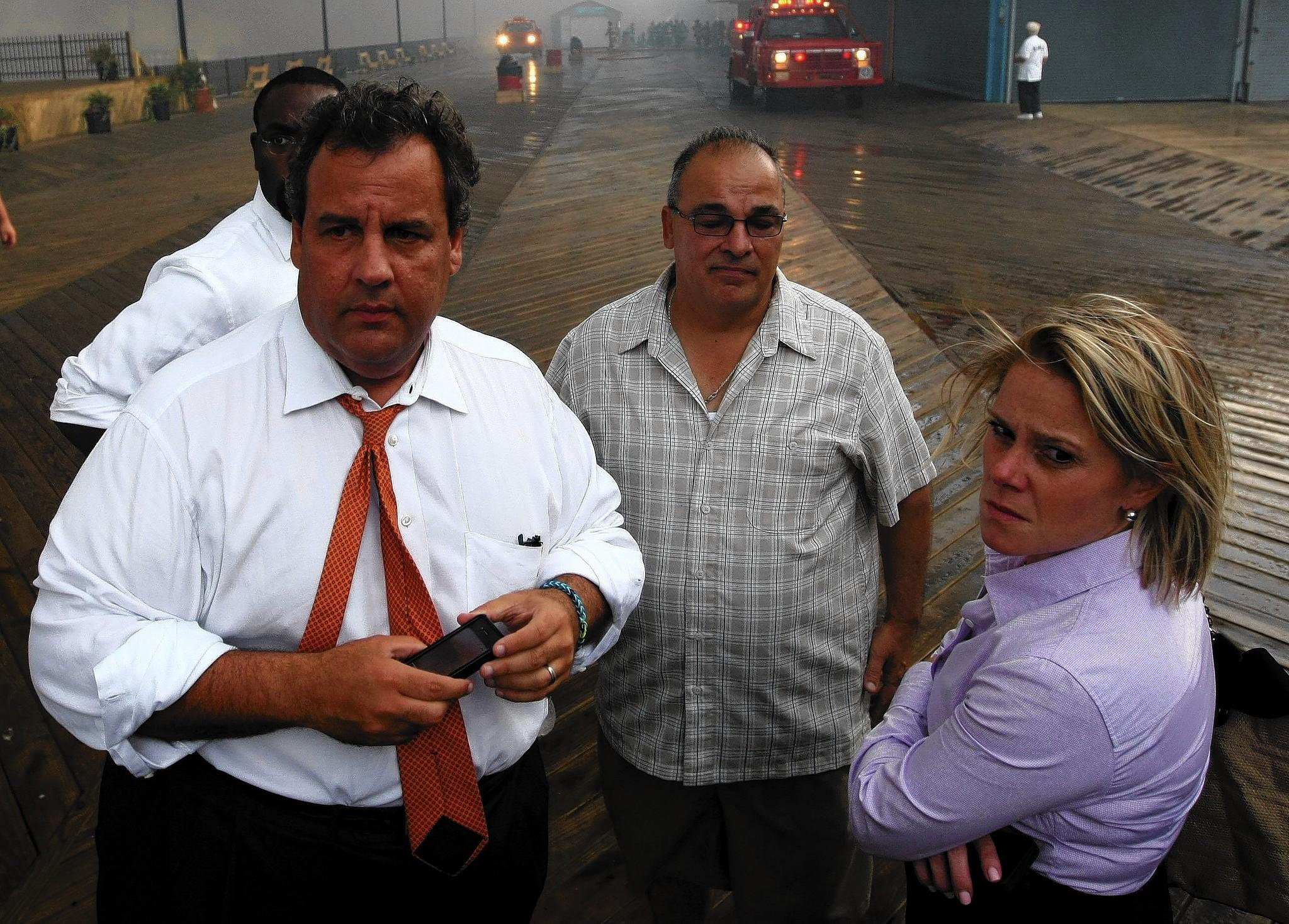 New Jersey Gov. Chris Christie and aide Bridget Anne Kelly are among officials visiting the Seaside Heights boardwalk after a fire in September.