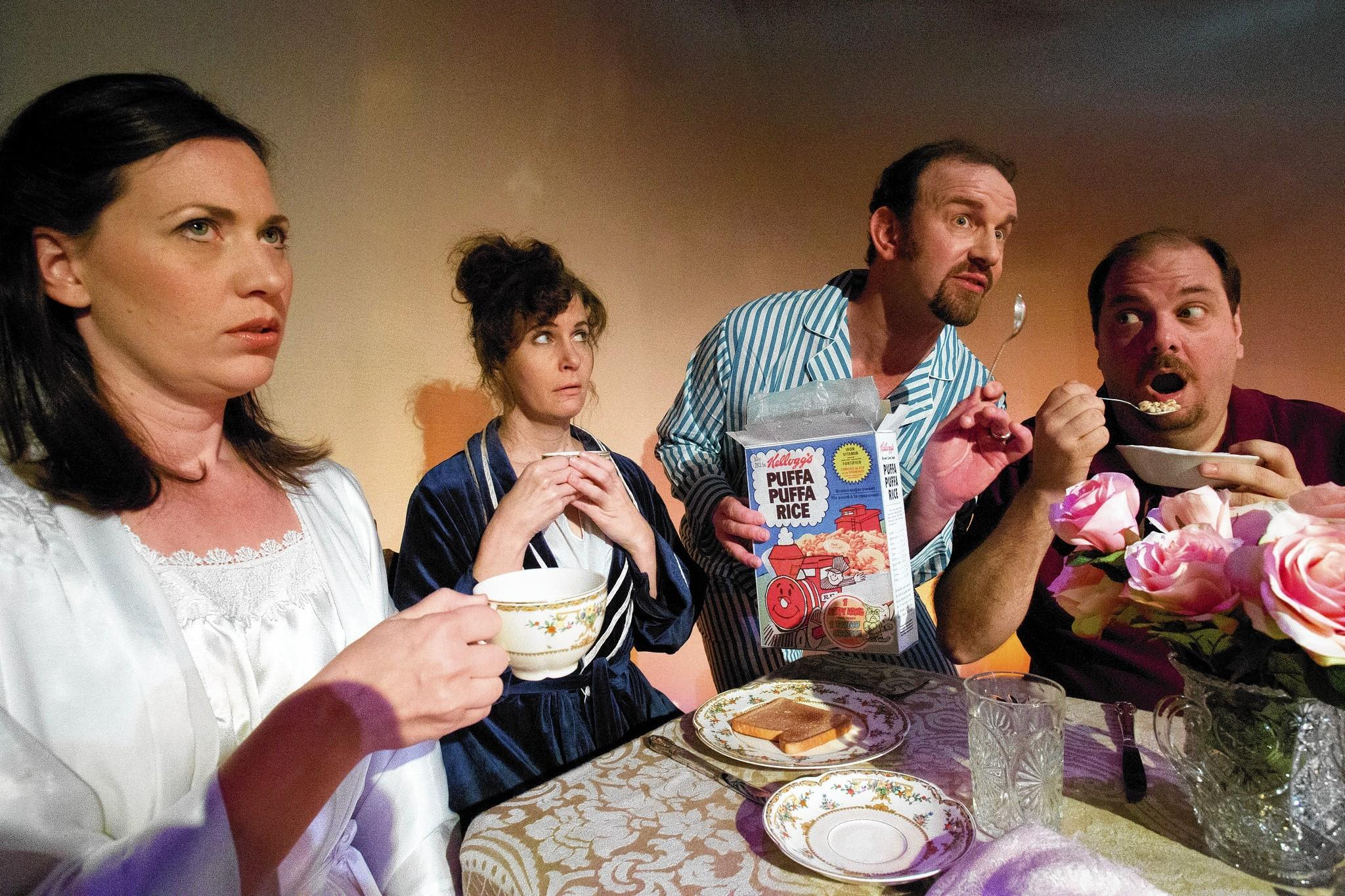 "Heather Charles (from left), Ame Livingston, Simon Needham and Thom Mesrobian star in Mad Cow Theatre's ""Table Manners."""
