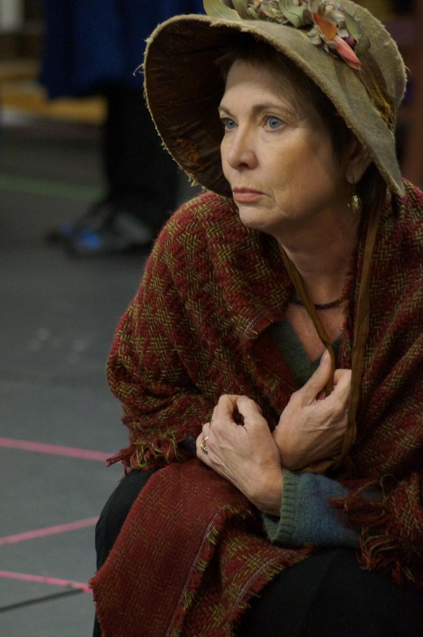 """Anne Hering rehearses a scene for Orlando Shakespeare Theater's production of """"The Life and Adventures of Nicholas Nickleby."""""""