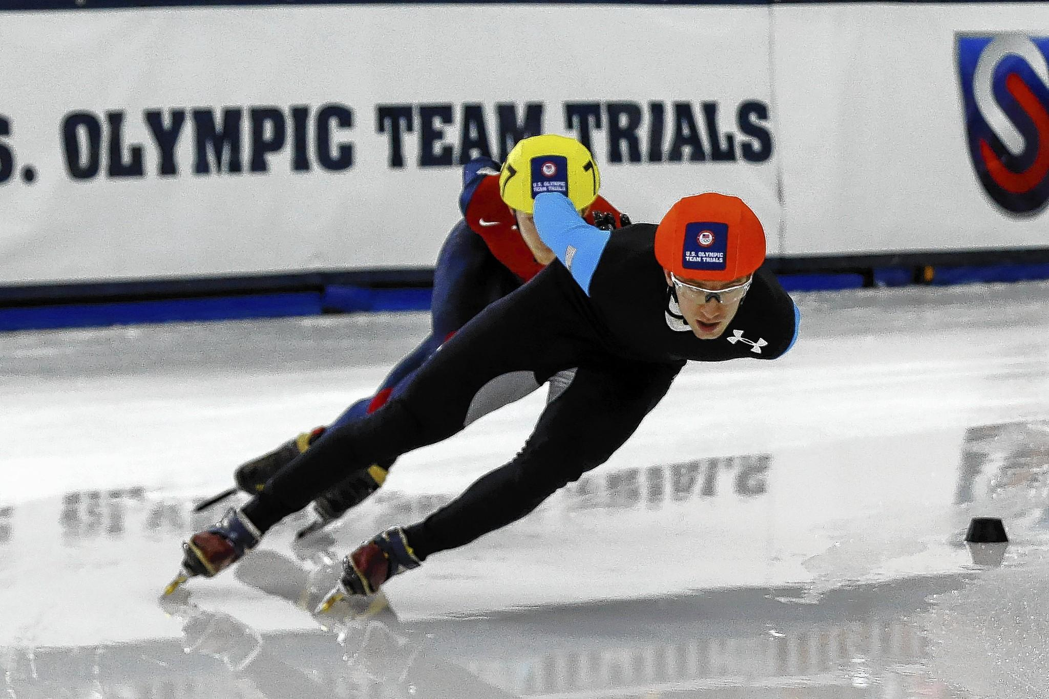 Jan 5, 2014; Kearns, UT, USA; Chris Creveling competes in the 1000m of the U.S. Olympic short track speedskating trials at Utah Olympic Oval.