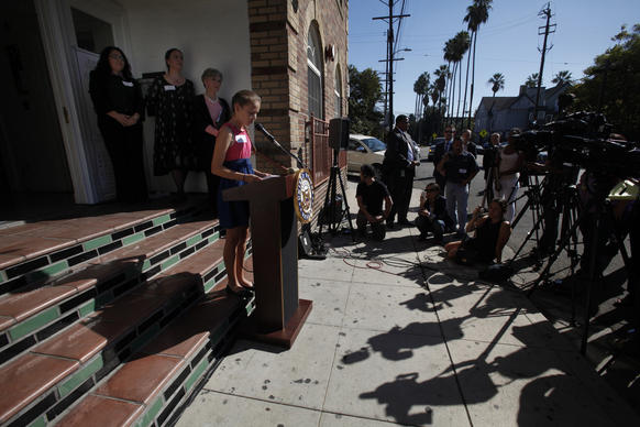 Nalleli Cobo, 13, speaks to the news media during a press conference in her University Park neighborhood in Los Angeles. Nalleli narrated a video produced by local activists asking that the Allenco oil field not resume operations.