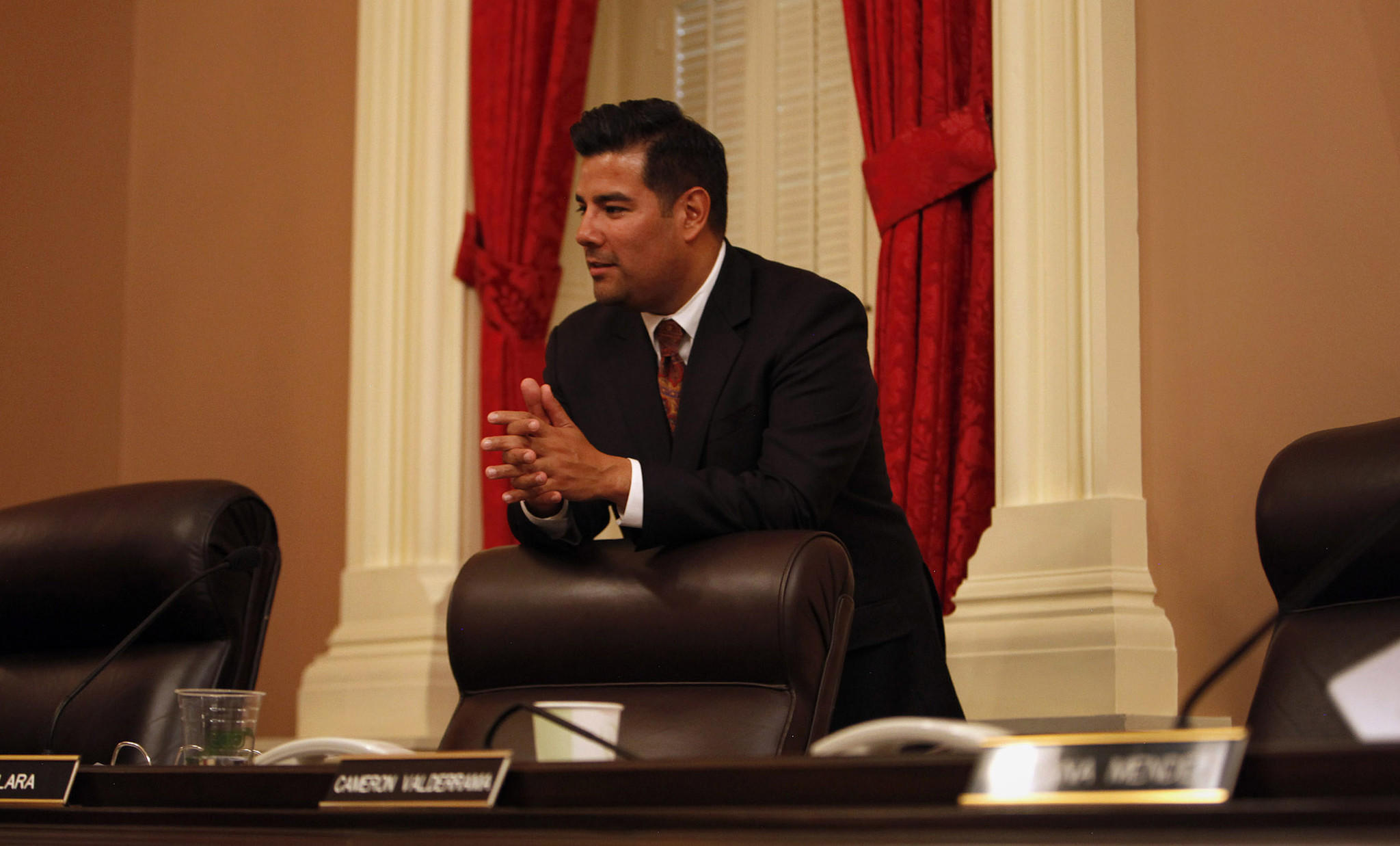 State Sen. Ricardo Lara (D-Bell Gardens) during a recent meeting at the Capitol. On Friday he proposed legislation allowing people in the country illegally to get health coverage through the state's health care exchange.