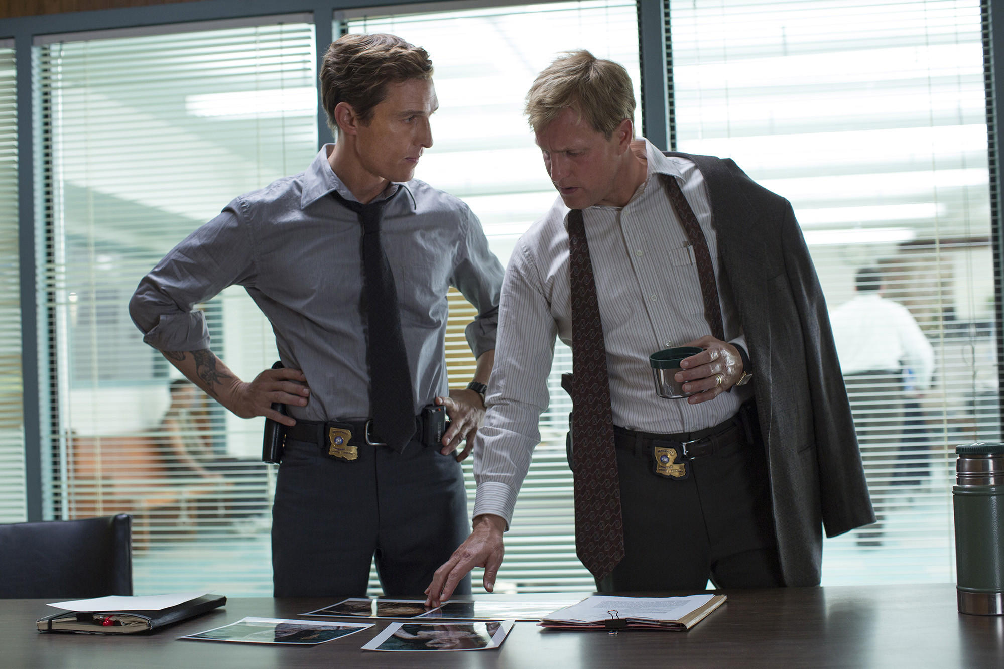 "Matthew McConaughey (left) and Woody Harrelson in ""True Detective."""