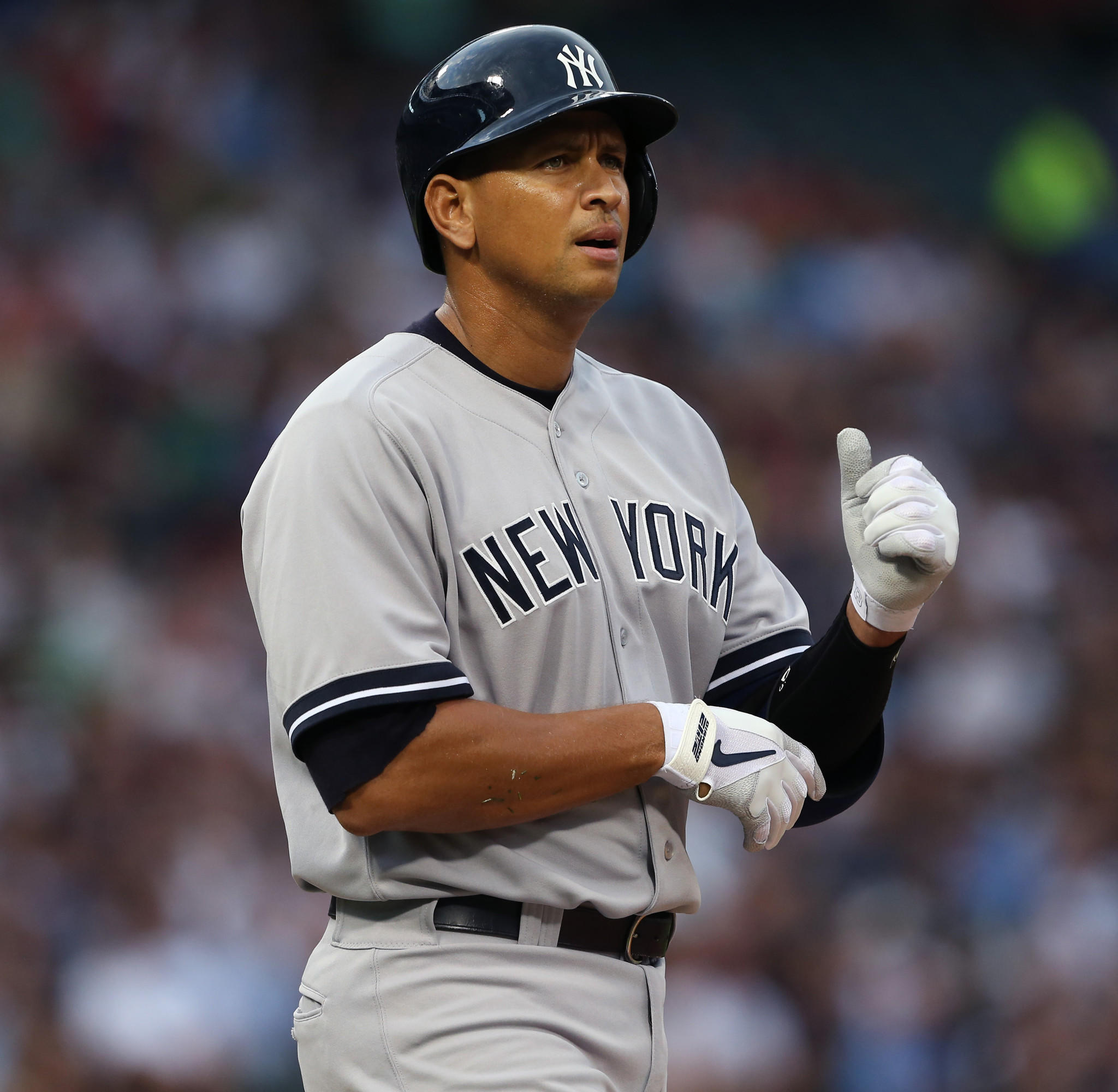 New York Yankees third baseman Alex Rodriguez (13), walks to first during the first inning of his team's game against the against the Chicago White Sox, at U.S. Cellular Field, in Chicago, on Tuesday, Aug. 6, 2013.