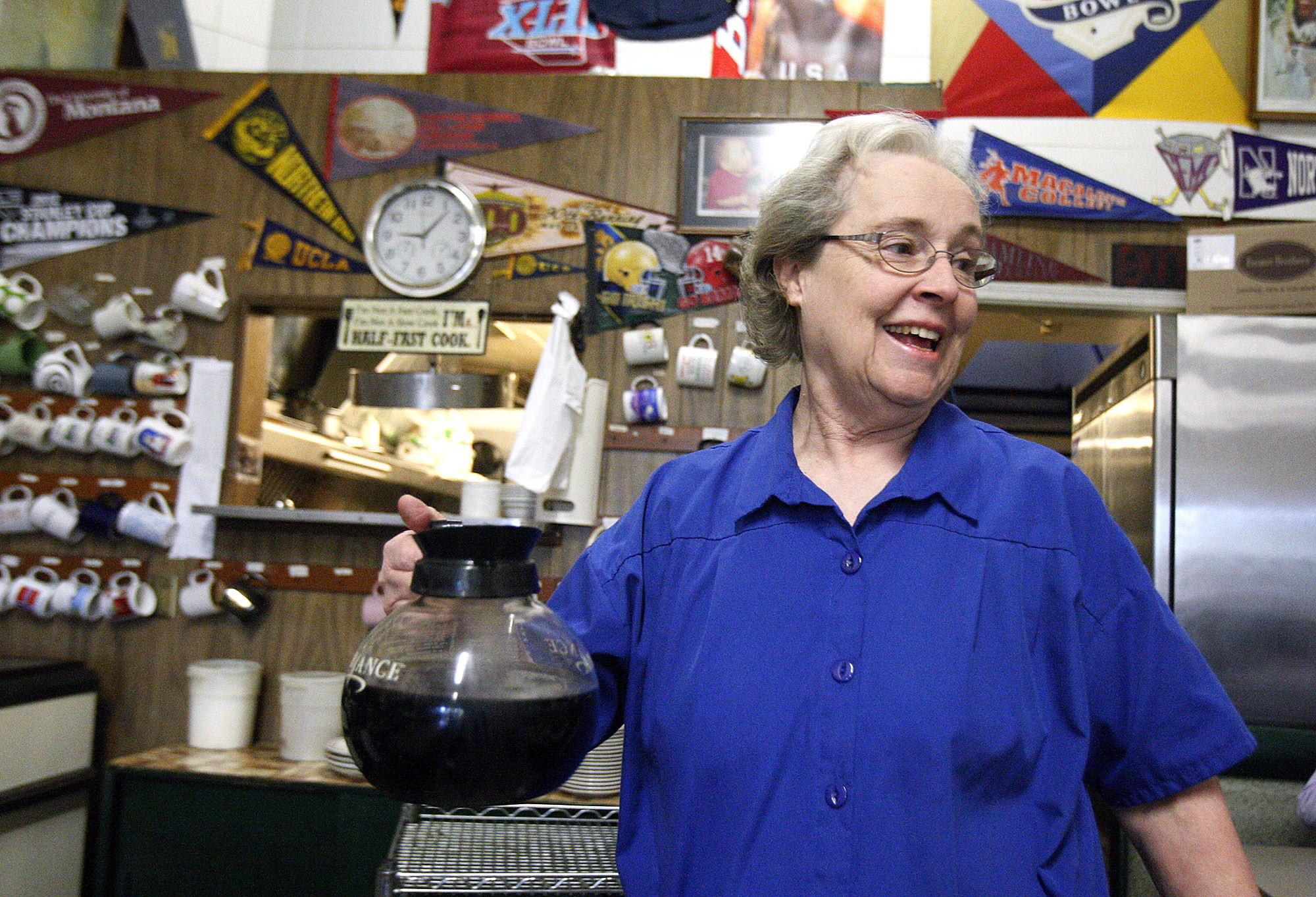 Wanda Bergstrom, with a pot of coffee that she says is an extension of her arm, at City Hall Coffee Shop in Montrose where Bergstrom has worked for more than four decades, pictured on Monday, January 6, 2014.