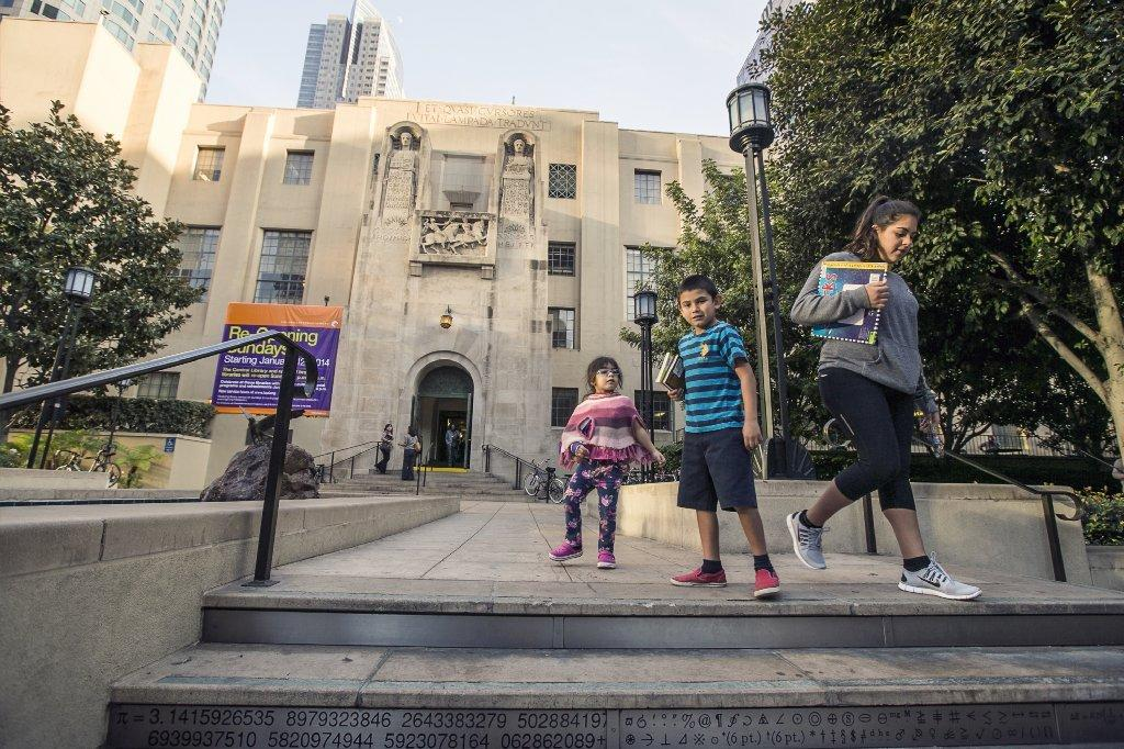 Outside Los Angeles' downtown Central Library, which will reopen on Sunday after years of being closed Sundays because of budget cuts.