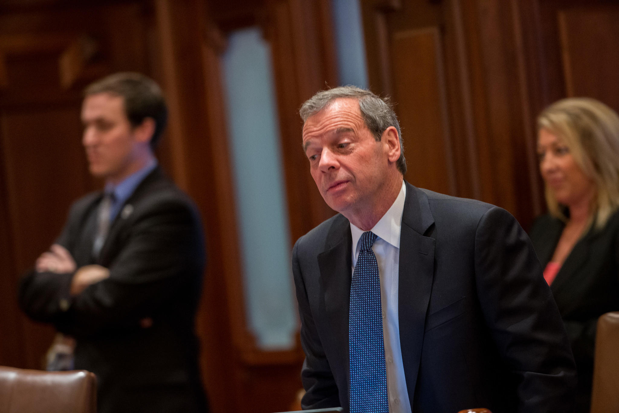 Senate President John Cullerton (D-Chicago), watches as State Senators vote for a major overhaul of the state government worker pension system in Springfield on Tuesday, December 3, 2013.