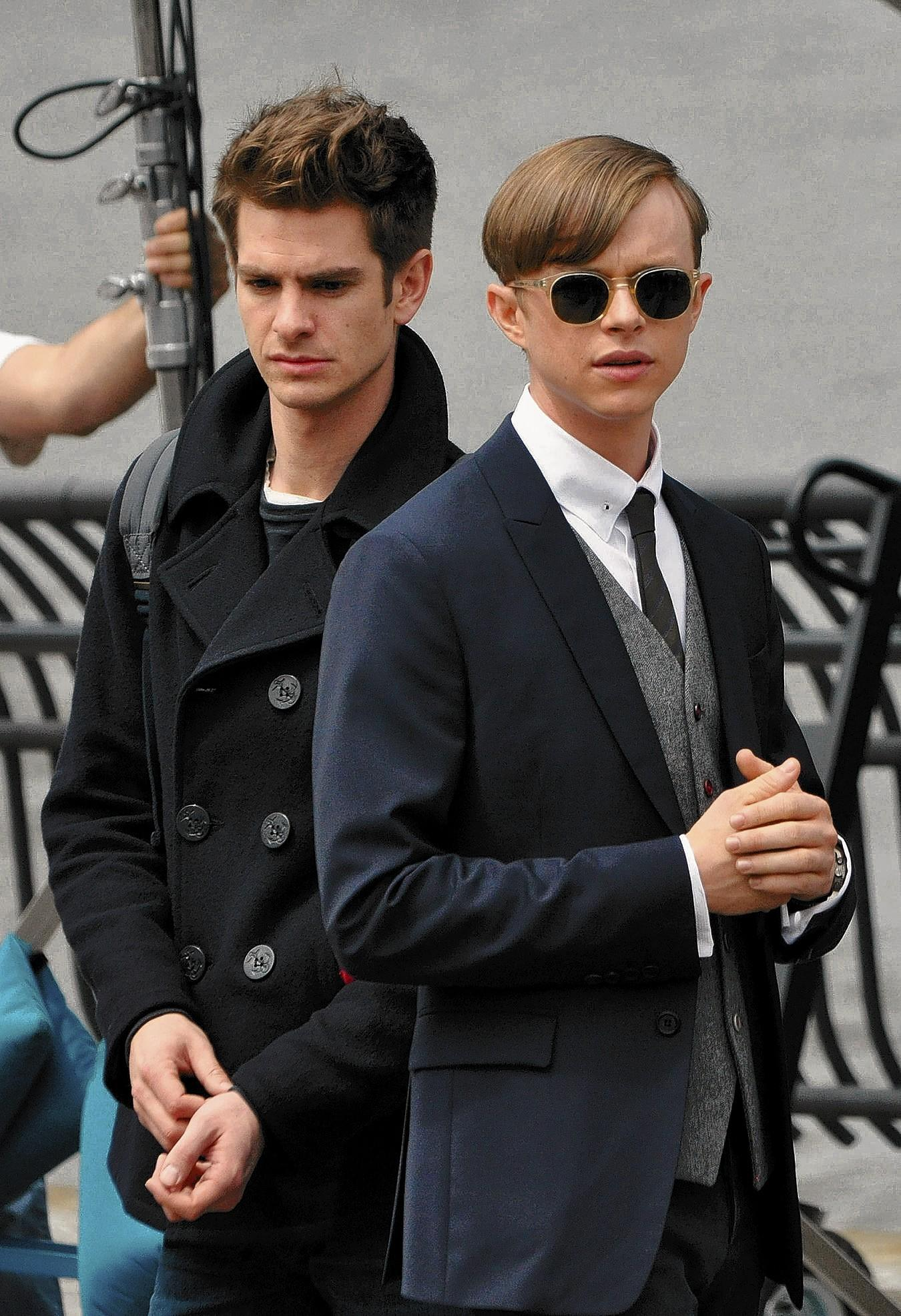 Allentown native Dane DeHaan and Andrew Garfield filming on location in New York City for 'The Amazing Spider-Man 2.'