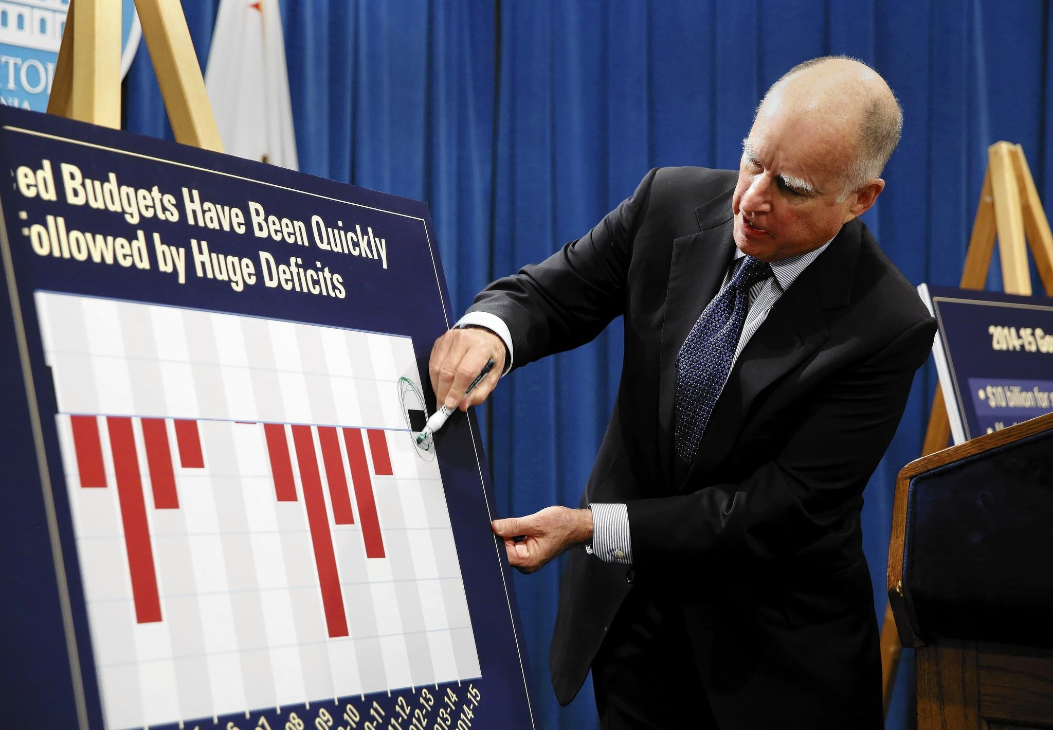 During a Sacramento news conference at which he unveiled his proposed 2014-15 state budget, Gov. Jerry Brown circles the black bar showing a surplus projected for the coming year, after years of deficits, represented in red.