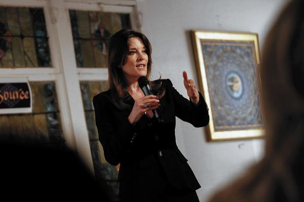 Author and spiritual leader Marianne Williamson speaks to supporters of her bid for the congressional seat held by Rep. Henry Waxman at the Source Spiritual Center in Venice in December.