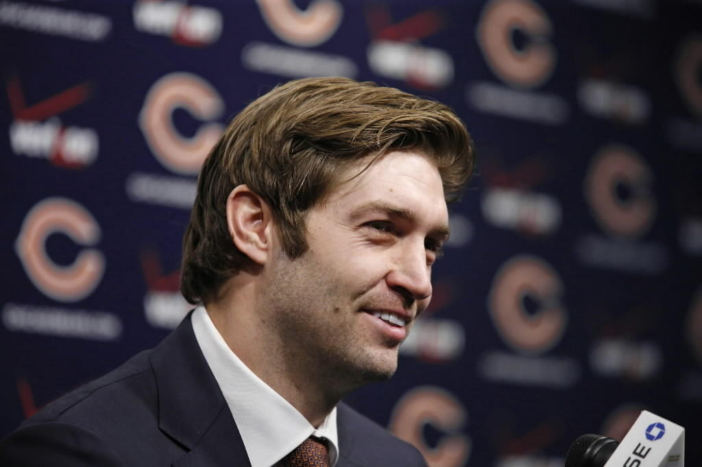 The Bears' Jay Cutler speaks to the media at Halas Hall in Lake Forest Jan. 2, 2014.