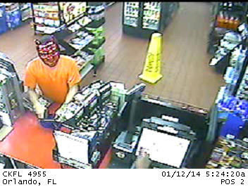 The Orlando Police Department released this photo of a man in a devil mask robbing a local convenience store.