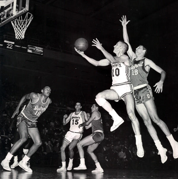 "On Jan. 12, 1967, the Baltimore Bullets ended an awful basketball slump with a 137-116 rout of the St. Louis Hawks before an announced 1,600 at the Civic Center. It's the first win in 14 games for the Bullets, thanks to 41 points from guard Don ""Waxie"" Ohl, who is pictured above wearing the No. 10 jersey in a 1964 game."