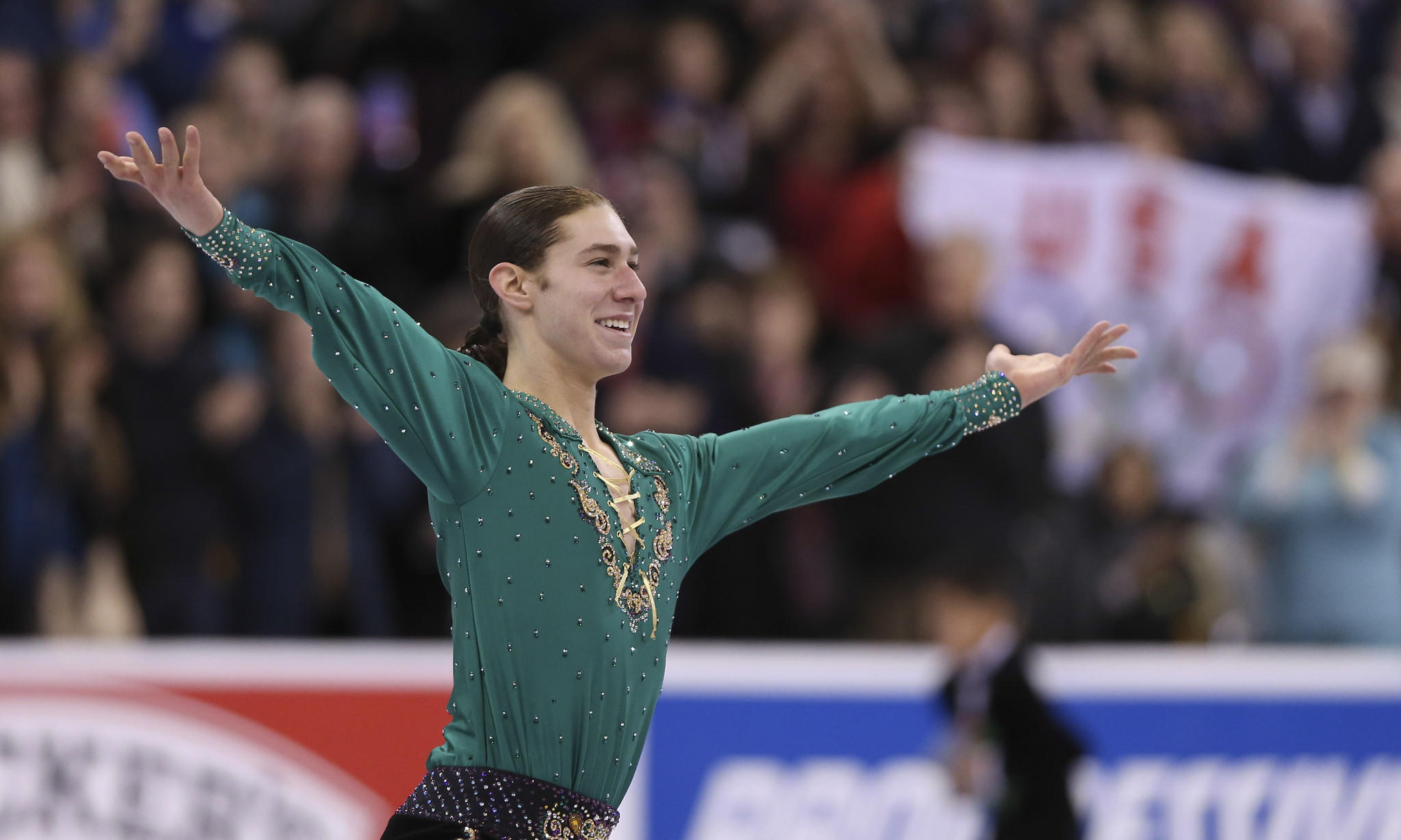 Jason Brown performs during the men's free skate in the U.S. Figure Skating Championships at TD Garden.