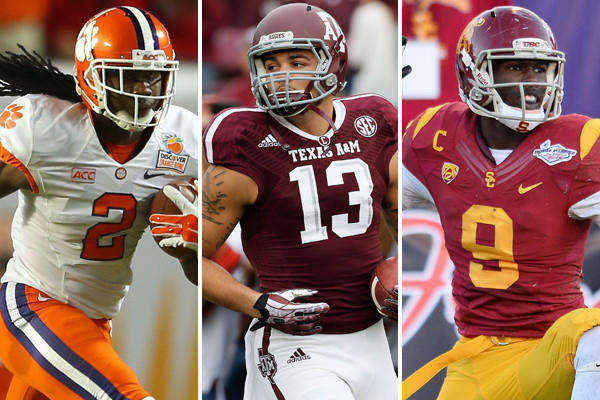 From left to right, Clemson's Sammy Watkins, Texas A&M's Mike Evans and Southern California's Marqise Lee are all expected to go in the first round of the 2014 NFL draft.
