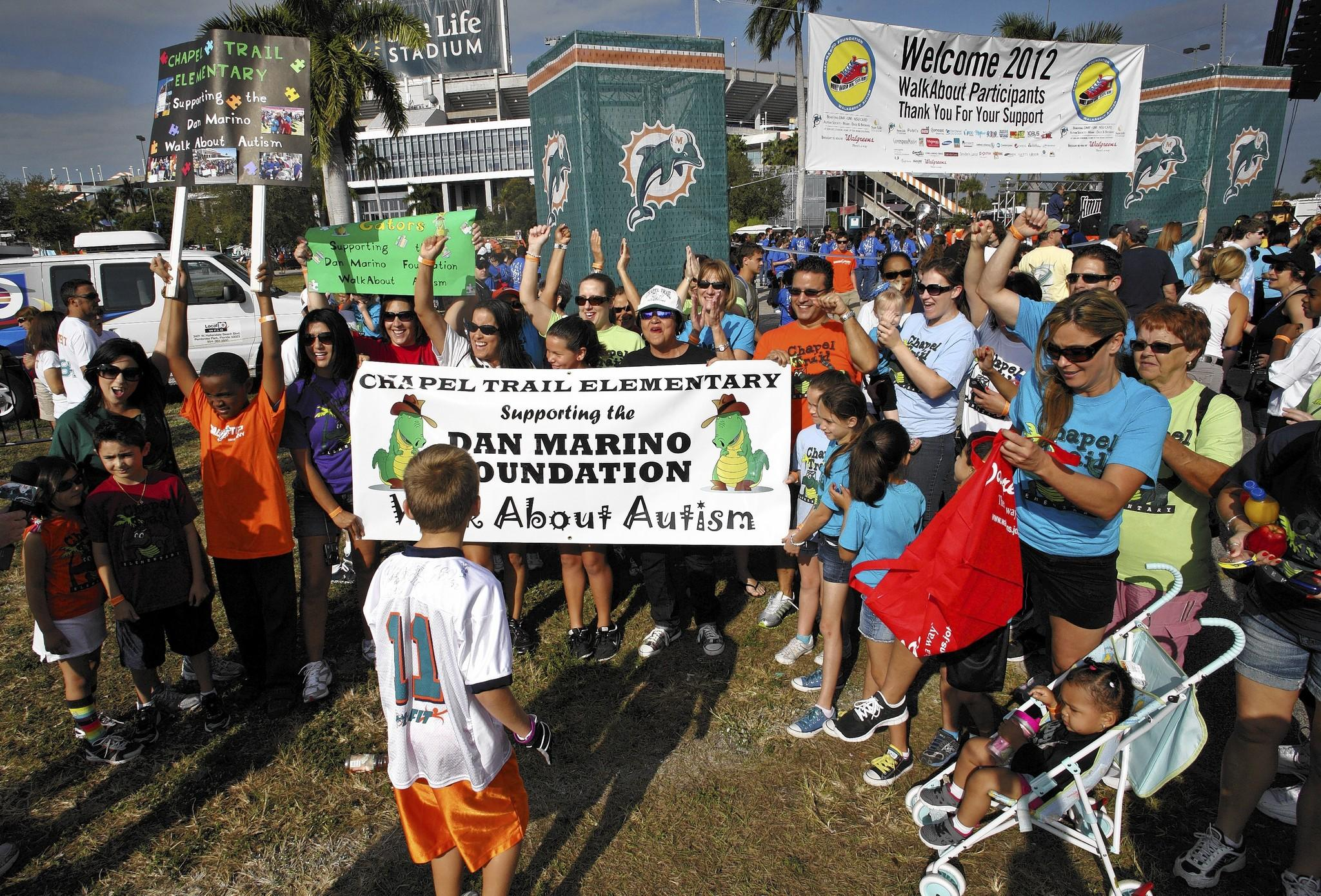 People attend the Dan Marino Foundation Walkabout Autism event in the Sunlife Stadium on January 28, 2012.