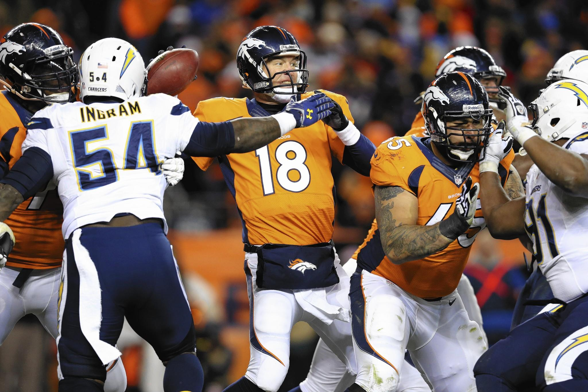 Denver Broncos quarterback Peyton Manning (18) passes while pressured by San Diego Chargers linebacker Melvin Ingram.
