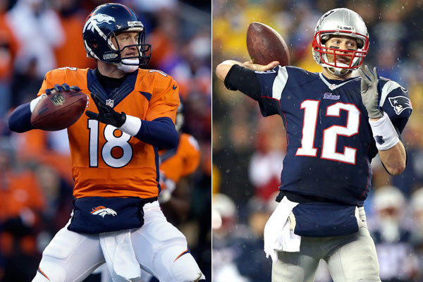 Quarterbacks Peyton Manning and Tom Brady.