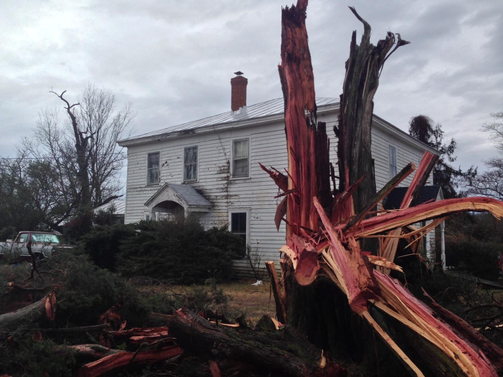 Straight line winds tore through Gloucester on Saturday afternoon. No injuries were reported said Sheriff Darrell Warren. Thousands were without power and homes were damaged by downed trees and limbs.