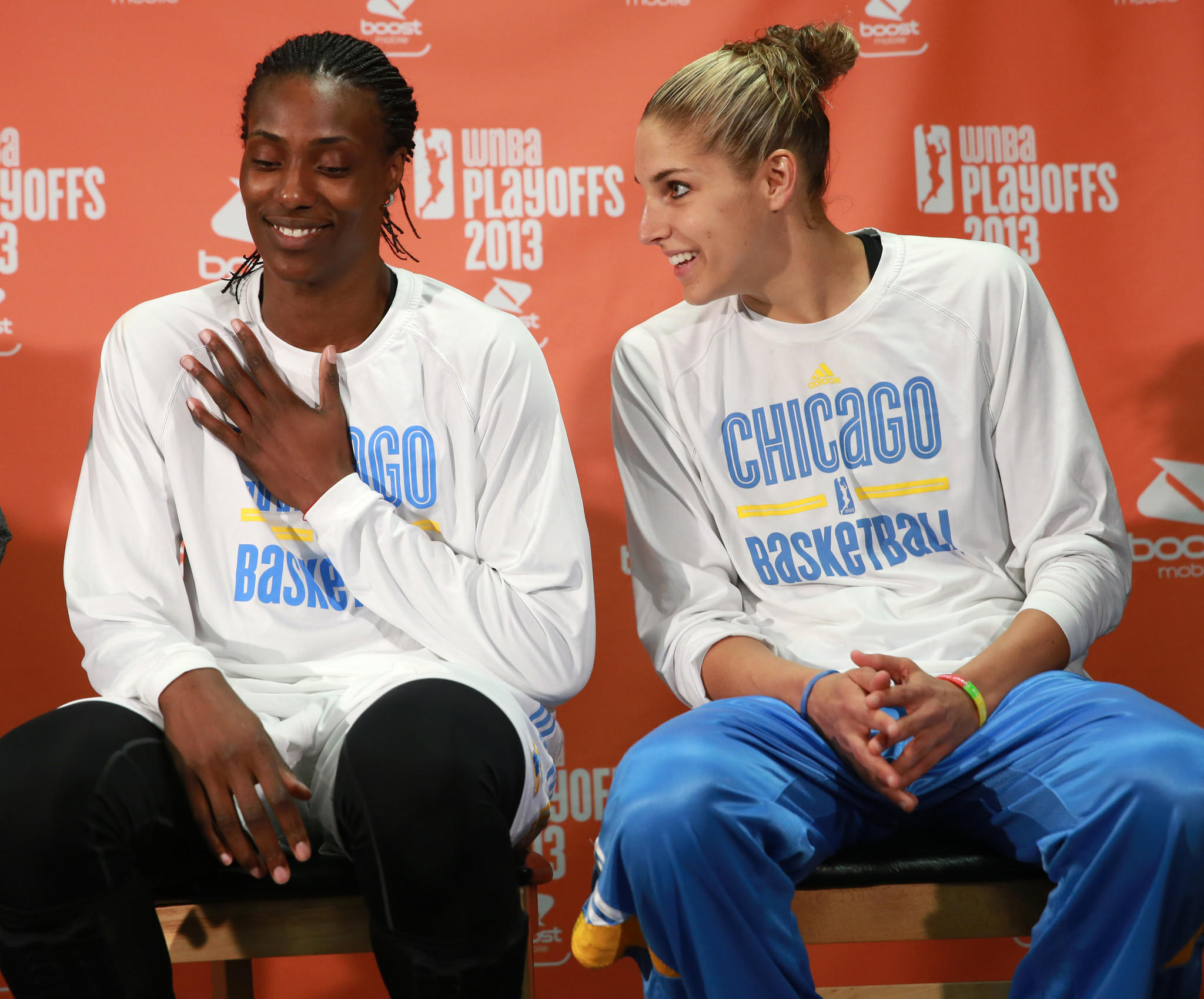 Chicago Sky players Sylvia Fowles (left) and Elena Delle Donne.