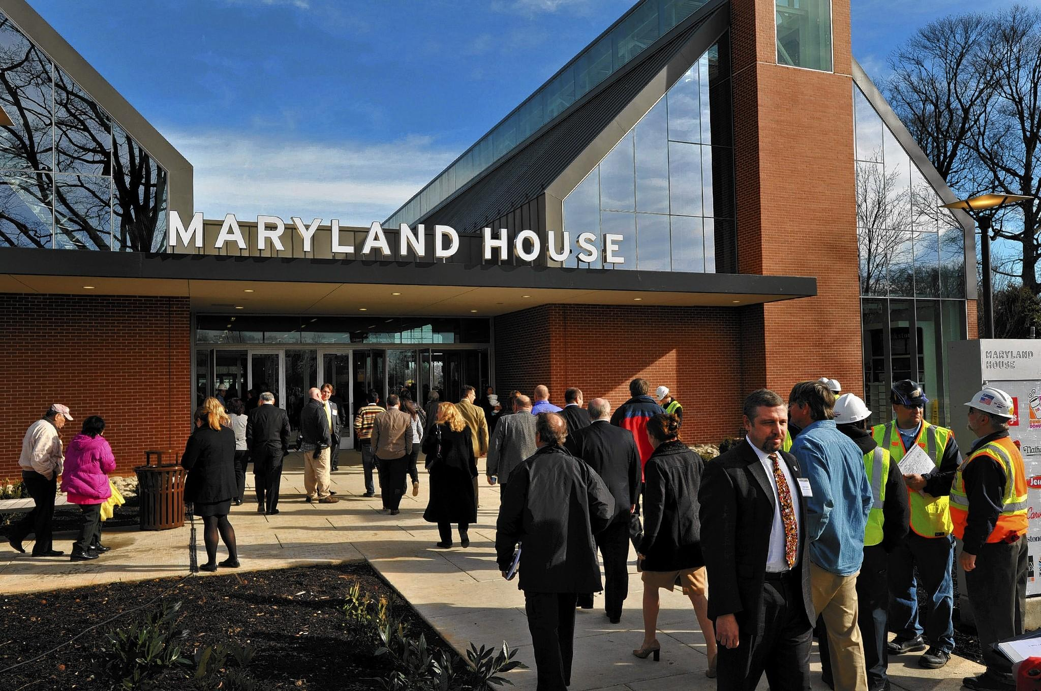 Visitors invited to the preview enter the new $30 million Maryland House Travel Plaza. Lt. Gov. Anthony G. Brown and Sen. Ben Cardin joined other public officials and private sector partners for the ribbon-cutting and preview of the new Maryland House Travel Plaza.