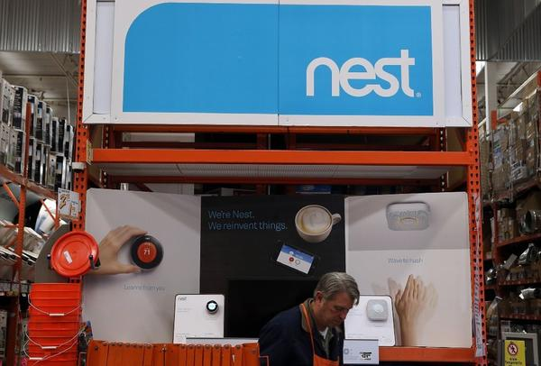 Nest products are displayed at a Home Depot store in San Rafael, Calif.