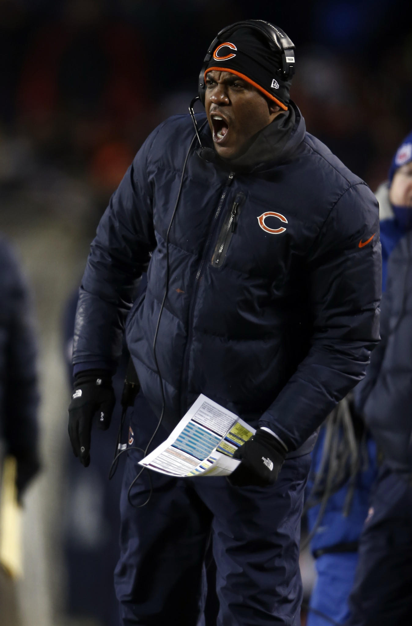 Chicago Bears' defensive coordinator Mel Tucker in 4th quarter of 45-28 win over Dallas Cowboys during NFL game at Soldier Field.