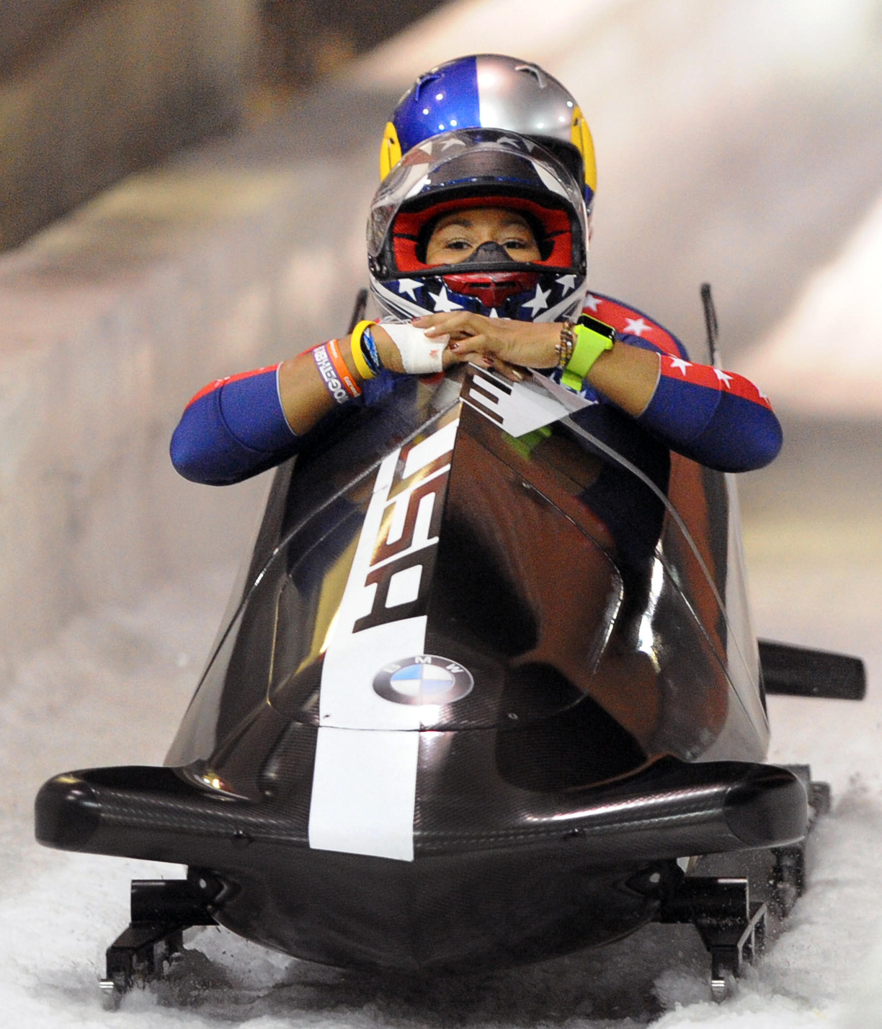 USA bobsled team of pilot Jazmine Fenlator and brakewoman Lolo Jones cross the finish line after the second of two selection runs at the Utah Olympic Park in Park City, Utah.