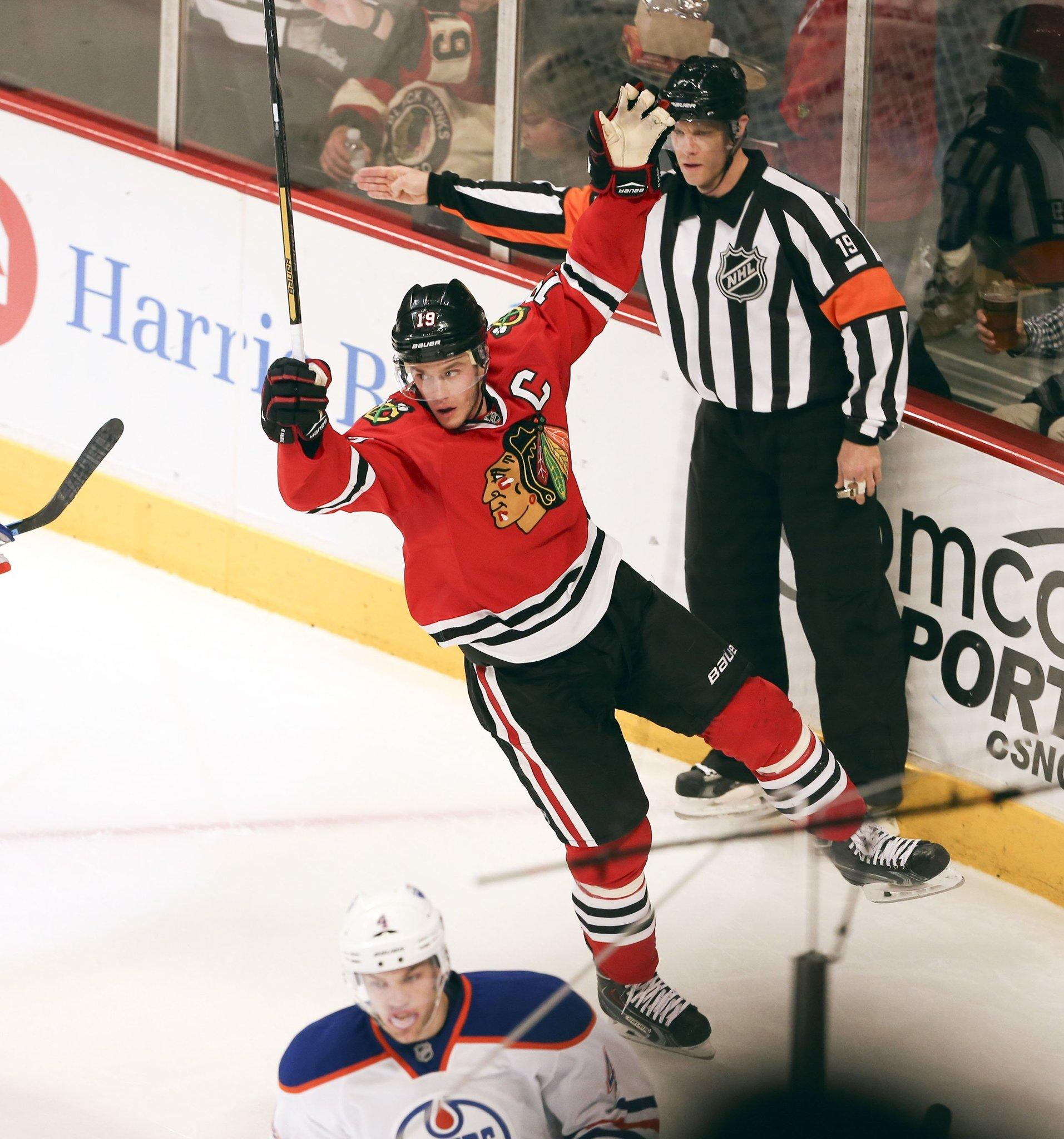 Jonathan Toews celebrates his goal against the Edmonton Oilers during the second period of their game at the United Center.