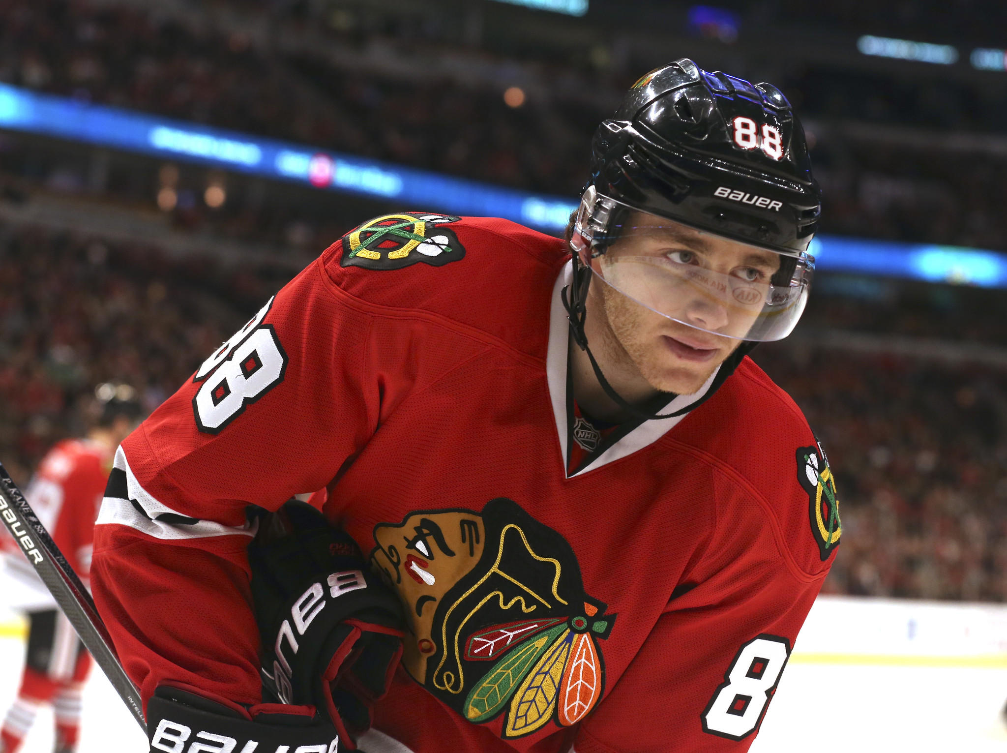 Patrick Kane during the first period of his team's game against the Edmonton Oilers at the United Center.