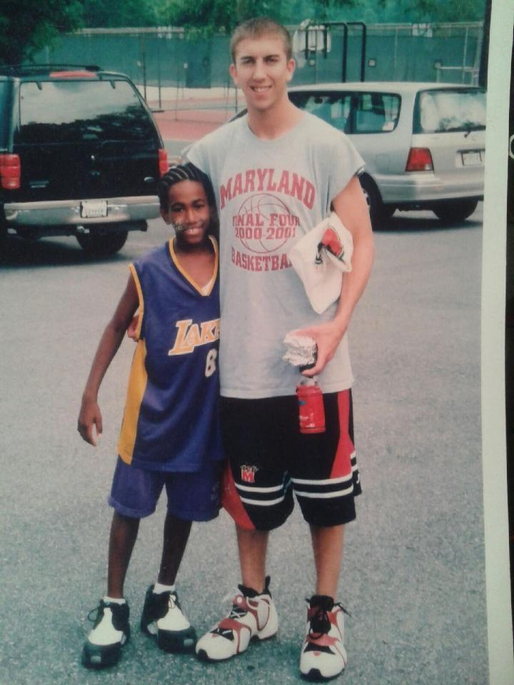 """Though not a Maryland fan growing up, Eric Atkins posed with former Terps guard Steve Blake. Atkins said recently, """"I did not like him when I was younger, but I really respect the career he has had."""""""