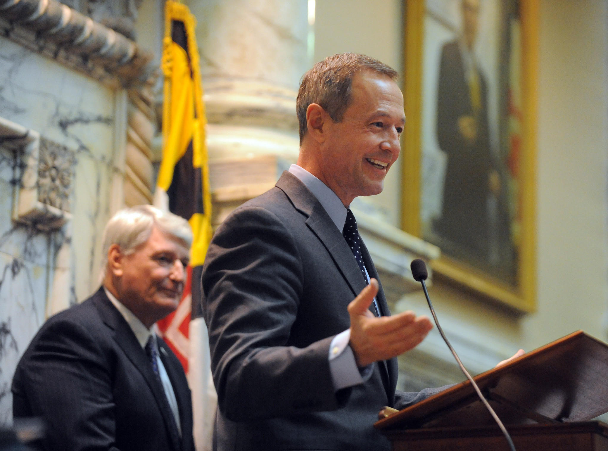 Gov. Martin O'Malley makes the traditional visit to the House on the first day of the General Assembly as Speaker Mike Busch, left, looks on.