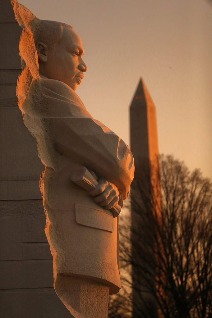 The sun rises near the Martin Luther King Jr. Memorial in Washington, D.C., last year.