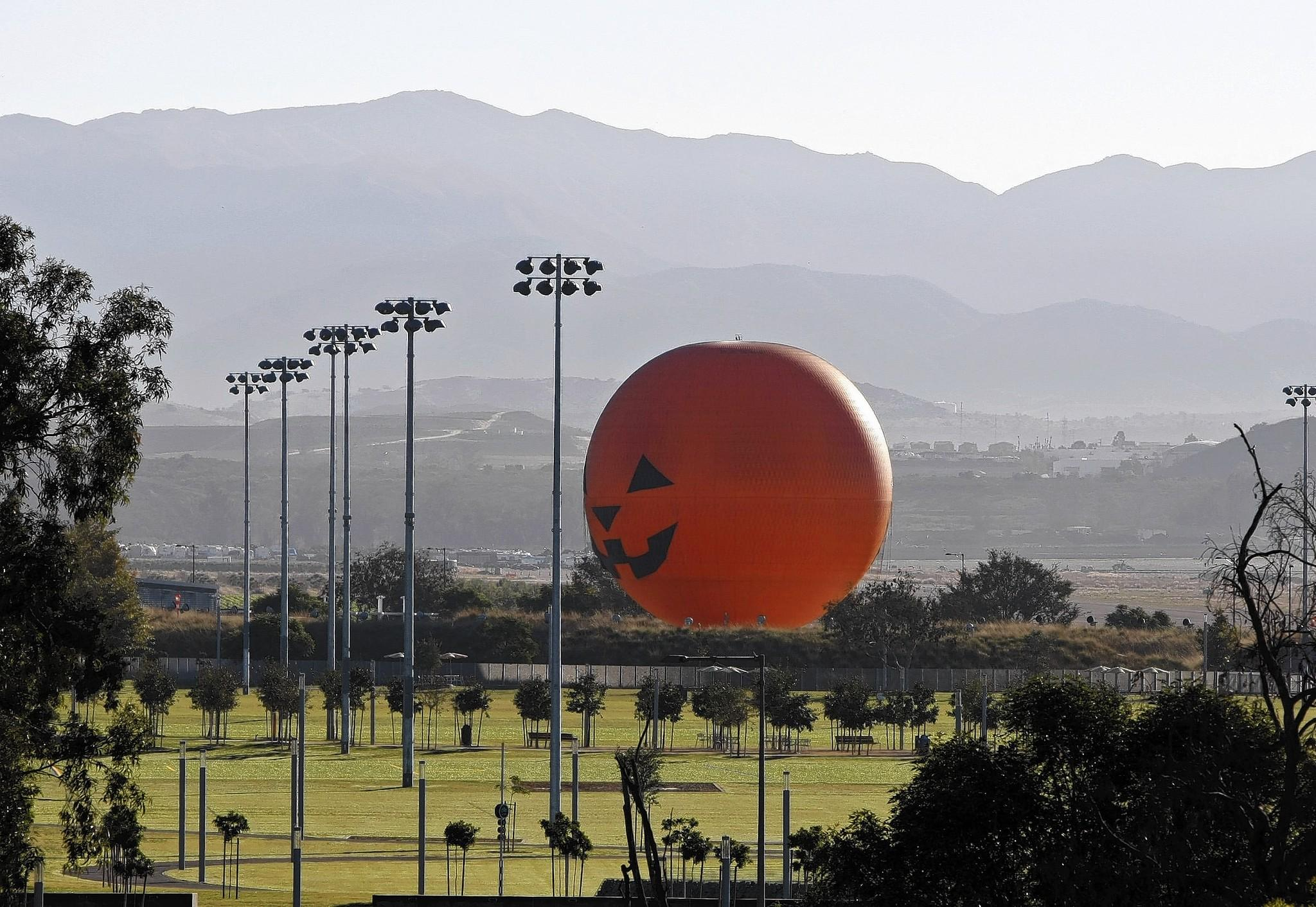 The 118-foot-high Great Park Balloon observation ride sits near athletic fields at the Great Park in Irvine. The balloon has been the centerpiece of the struggling park.