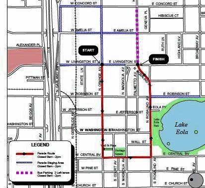 Streets in downtown Orlando will be closed on Jan. 18 for the Southwest Orlando Jaycess Downtown Orlando Annual MLK Parade. For event information, contact 407-929-7992.