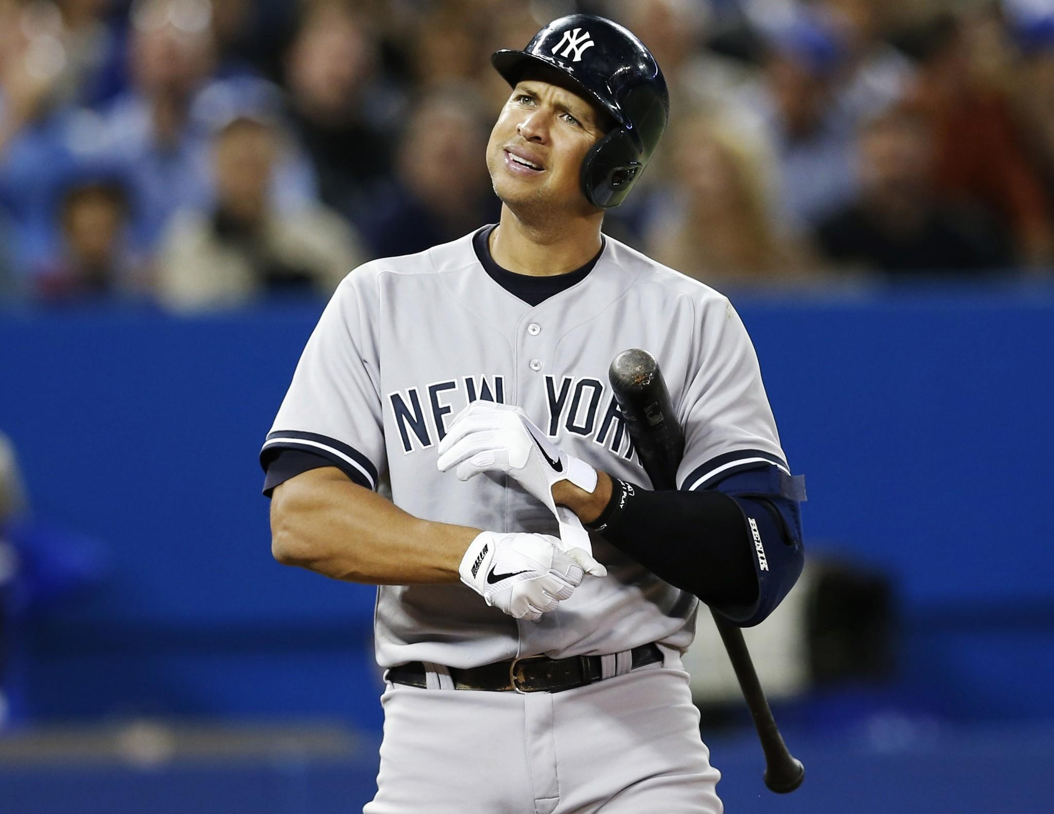 New York Yankees Alex Rodriguez reacts during an at bat against the Toronto Blue Jays during a game on Sept. 17, 2013.