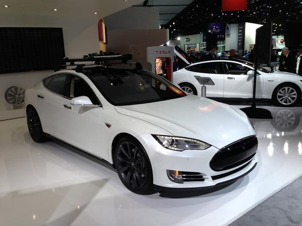 Tesla Model S on display at the Detroit Auto Show.