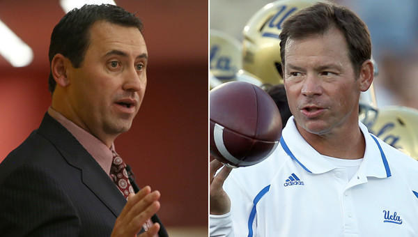 USC Coach Steve Sarkisian, left, and UCLA Coach Jim Mora have experienced much different fortunes in regard to their players and the 2014 NFL draft.