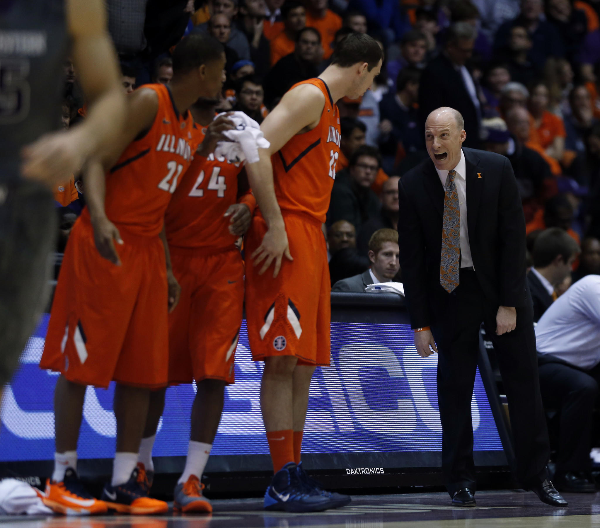 Illinois head coach John Groce during 1st half against Northwestern during Big Ten basketball game in Evanston.